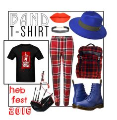 """""""Red Hot Chilli Pipers 15 July 2016 - Heb Fest"""" by clairecoloursme ❤ liked on Polyvore featuring Vivienne Westwood Red Label, Maison Michel, Dr. Martens, Yves Saint Laurent and Humble Chic"""