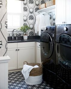 Design by @southernstudio. Photo by @staceyvanberkelphoto.  Tile featured: @lauraashleyusa Wicker Charcoal. Laundry Room Tile, Laundry Room Inspiration, Clean Space, The Tile Shop, Modern Farmhouse Style, Pattern Mixing, Tile Patterns, Tile Design, Living Spaces