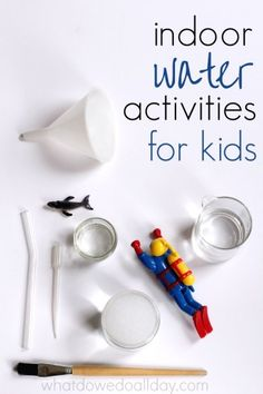 Indoor water play ideas for kids. Activities to keep kids happy.