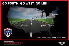 Here is the final MINI Takes the States 2012 route map and itinerary. DATE LOCATIONS MILES Wednesday, July 4 MINI Headquarters - Woodcliff Lake, NJ to Washington D. Woodcliff Lake, Mini Usa, Go West, Washington Dc, Worlds Largest, Nashville, Have Fun, Chicago, America