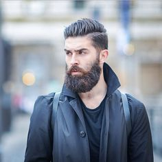 Chris John Millington - full thick dark beard and mustache beards bearded man men mens' style model fashion fall winter clothes good hair hairstyle style cut barber bearding