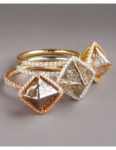 Rose- and champagne-colored engagement rings
