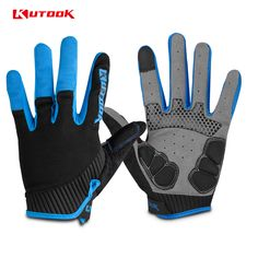 KUTOOK Men's Cycling Gloves Women Full Finger Bike Bicycle MTB Gloves Touch Screen Gel Padded Lycra Mittens  KF401