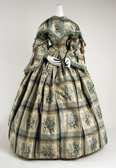 C.1856-1857, American, silk and cotton.