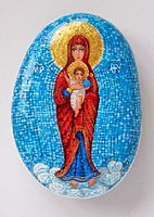 Blessed Mother painted on a stone