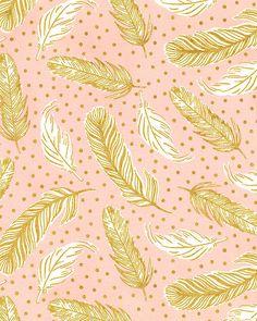 Clarabelle - Speckled Feathers - Rose Quartz Pink/Gold