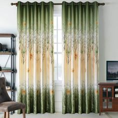 Green/Orange Maple Leaf Tree Curtains and Drapes for Living Room Set of 2 Panels