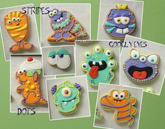 With the Monsters University movie released this summer and Halloween not too far away, monster stuff is all the rage these days. Fall Cookies, Cookies For Kids, Iced Cookies, Cute Cookies, Sugar Cookies, Christmas Cookies, Cupcakes, Cupcake Cookies, Sugar Cookie Royal Icing