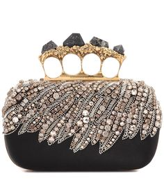 Alexander McQueen - Embellished satin box clutch - Alexander McQueen's box clutch has been beautifully embellished with crystals and beads, while the stone-adorned knuckle handle brings a tough-luxe finish. seen @ www.mytheresa.com