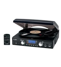 3-Speed Stereo Turntable w/ MP3 Encoding. 3-Speed Stereo Turntable w/ MP3 Encoding- Belt driven 3-speed stereo turntable - 33/45/78 RPM- MP3 compatible- USB and SD/MMC slots- Skip/search forward and back- Direct MP3 encoding from the turntable to a USB flash drive or SD/MMC memory card, no computer needed-