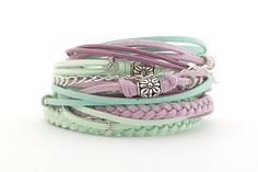 Hey, I found this really awesome Etsy listing at https://www.etsy.com/listing/228940161/boho-wrap-bracelet-mint-lilac-bracelet