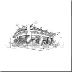 San Siro (Giuseppe Meazza) Stadyumu Kendin Tasarla - HDF Magnet 8x8cm