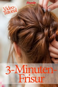 Video Tutorial: Fast 3 Minute Hairstyle- Videoanleitung: Schnelle If you need to go fast, try this simple hairstyle, which is ready in just three minutes - Curly Hair Styles, Short Hair Updo, Natural Hair Styles, Fast Hairstyles, Hairstyles For School, Hairstyles With Bangs, Braided Hairstyles, Braids Tutorial Easy, Hairstyle Tutorial