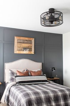 4 Easy Ways to Create A Rustic Teen Boy Room ~ The Lived-In Look How to design a teen bedroom for boys. This rustic modern bedroom reveal is packed with inexpensive tips to create the perfect space for any Modern Boys Rooms, Teen Boy Rooms, Girl Bedrooms, Teen Boy Bedding, Modern Bedrooms, Teen Bedroom Boys, Kids Rooms, Teen Bedroom Lights, Modern Bedroom Lighting