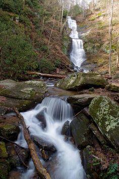 Tom's Creek Falls in North Carolina - Pisgah National Forest waterfall near Asheville.