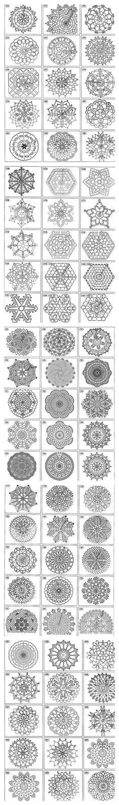 FREE DIAGRAM ~ Over 1400 free crochet motif, afghan squares, coasters, snowflakes, doilies, triangles stitch chart diagram patterns. Great for baby blankets, afghans, table cloths, towel edging, Christmas. ornaments etc.
