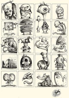 "Series of Sketches made with ballpoint pen on paper. ""Little and quick Concepts for Great Ideas"" Monster Sketch, Doodle Monster, Monster Drawing, Monster Art, Creepy Art, Weird Art, Arte Horror, Horror Art, Monster Illustration"