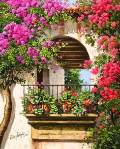 balcony - think I need some geraniums on the balcony! - Wandbilder -French balcony - think I need some geraniums on the balcony! Landscape Art, Landscape Paintings, Pintura Colonial, French Balcony, Gazebos, Arbors, Balcony Flowers, Garden Illustration, Beautiful Paintings
