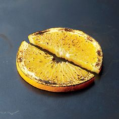 Orange sprinkled lightly with sugar and blow-torched.