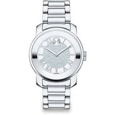 Movado Bold Luxe Crystal & Stainless Steel Bracelet Watch ($615) ❤ liked on Polyvore featuring jewelry, watches, apparel & accessories, silver, watch bracelet, movado wrist watch, crystal jewelry, stainless steel wrist watch and movado watches