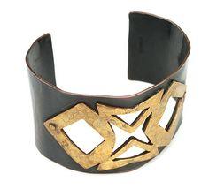 GOURDJI Cuff Bracelet: Copper with open work riveted Brass Detail (Etsy, vintagebitsblitz)