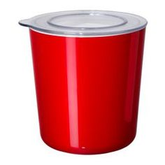"""LJUST jar with lid, clear, red Diameter: 6 """" Height: 6 """" Volume: 2 qt Diameter: 14 cm Height: 15 cm Volume: 1.5 l"""