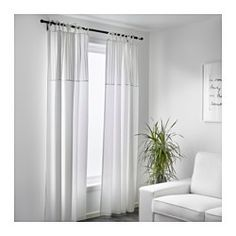 IKEA - PÄRLBLAD, Curtains, 1 pair, , The curtains lower the general light level and provide privacy by preventing people outside from seeing directly into the room.The tie heading allows you to hang the curtains directly on a curtain rod.