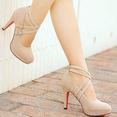 Gender: WomenItem Type: PumpsShoe Width: Medium(B,M)Process: AdhesiveSeason: Spring/AutumnClosure Type: Lace-UpToe Shape: Round Toeis_handmade: YesUpper Material: FlockInsole Material: TPRHeel Height: High Platform High Heels, High Heel Pumps, Women's Pumps, Stiletto Heels, Nude Heels, Beige Heels, Red Bottom Shoes, Prom Heels, Pretty Shoes