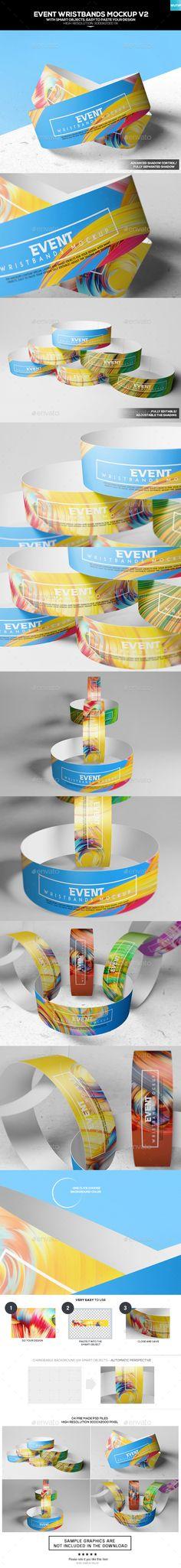 Event Wristbands Mockup V2  — PSD Template #3000x2000 #bands • Download ➝ https://graphicriver.net/item/event-wristbands-mockup-v2/18091792?ref=pxcr