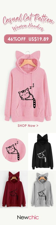 [Newchic Online Shopping] 46%OFF Casual Cat Pattern Women Hoodies
