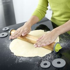 Pastry-making is a precise process. Take the guesswork out of preparing just-the-right-height dough with this adjustable rolling pin. Removable discs with locking handles raise or lower the solid-beechwood pin so your pie crusts, cookies, and pizza doughs can be rolled to the right thickness with ease. Measurements are also etched into the barrel to help you achieve exact widths. (thinkgeek.com, $19.99)