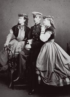 """Grand Duchess Alexandra Iosifovna Romanova of Russia,with her two eldest children Grand Duke Nikolai Konstantinovich Romanov of Russia and Grand Duchess Olga Konstantinovna Romanova of Russia, future Queen of the Hellenes. """"AL"""""""