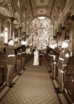 Marine Military wedding Sabre Arch. Shrine of St Joseph, St Louis. Black and White.