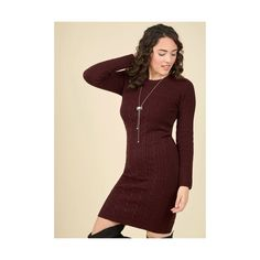 Long Long Sleeve Sweater Dress, Bodycon Luxe Lodge Sweater Dress ($60) ❤ liked on Polyvore featuring dresses, apparel, fashion dress, red, long fitted dresses, burgundy long dress, burgundy dress, red bodycon dress and bodycon dress