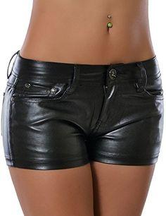 Damen Hotpants (Lederimitat) No 13729, Farbe:Schwarz;Größe:40 / L