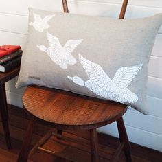 White Flying Ducks on Natural Linen by Flourish and Blume
