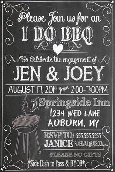 black and white i do bbq invites, unique b&w i do bbq invitations, modern i do bbq party decor, engagement party ideas ID# INVIDO01 by CustomPrintablesNY on Etsy https://www.etsy.com/listing/231822280/black-and-white-i-do-bbq-invites-unique