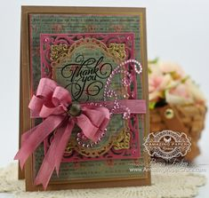 Thank you Card Making Ideas by Becca Feeken using JustRite Grand Thank you and Spellbinders