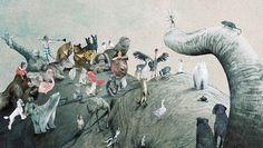 ilustración del libro La Pregunta del Elefante realizada por la ilustradora belga Kaatje Vermeire. http://libros-cuentos-infantiles-juveniles.elparquedelosdibujos.com/2015/08/la-pregunta-del-elefante.html