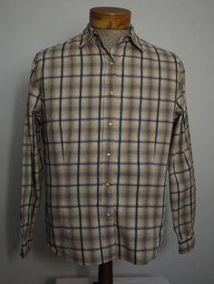 Pendleton Men's Western Shirt Sz XL Black Beige Gray Plaid with Pearl Buttons #Pendelton #Cowboy