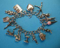 Vintage Sterling Exercise & Diet Themed Charm Bracelet