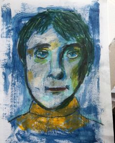 Still making oil pastel portraits. This time I painted an acrylic base