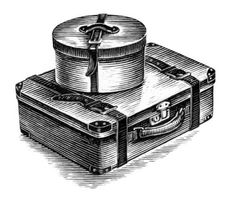 Stock Illustration : Suitcase and hat box