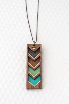 Chevron Stripe Necklace in Multiple Colors / Geometric Jewelry / Color Block / in Teal, Mint, Graphite, Walnut Wood