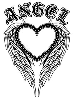 Abstract Vector Illustration Black And White Wings And Inscription Angel In The Gothic Style. Design For Tattoo Or Print T-shirt . Royalty Free Cliparts, Vectors, And Stock Illustration. Image 82944645. Pencil Drawings, Art Drawings, Black And White Heart, Illustration Art Drawing, Simple Flowers, Cat Life, Art Music, Art For Kids, Abstract