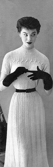 Inspiration: Vintage belts 50s White sweater dress knit wasp waist belt gloves hair style model magazine print ad