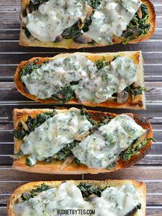 Mushroom Spinach and Swiss French Bread Pizzas - Budget Bytes