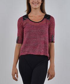 Fuchsia & Black Hi-Low Sweater #zulilyfinds