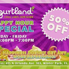 Remember the best happy hour happens at Yogurtland Winter Park!!! Tell your friend and come enjoy some delicious froyo for a VERY affordable price. #discount #happyhour #deals #yogurtland #froyo #delicious
