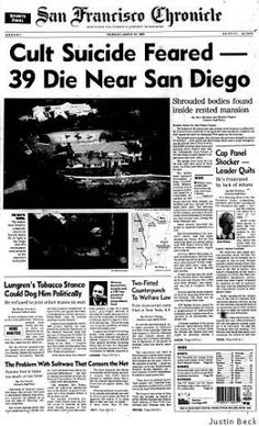 "1997- A mass suicide in which 39 members of a ""Heaven's Gate Cult"" in California killed themselves thinking they would be sent up to a spaceship behind the passing Hale Bopp comet. Strange and sad story."
